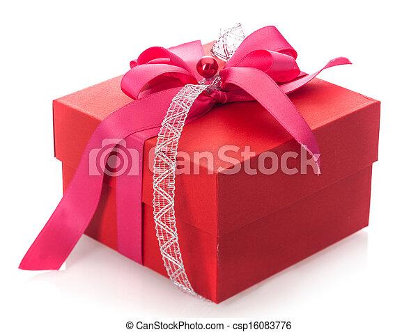 Caja de regalo roja festiva con arco - csp16083776