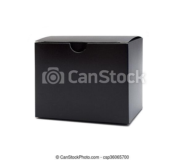 Cerca de una caja negra de fondo blanco - csp36065700