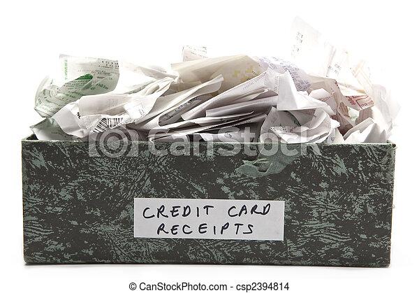 caja, arrugado, credito, desbordante, tarjeta, recibos - csp2394814