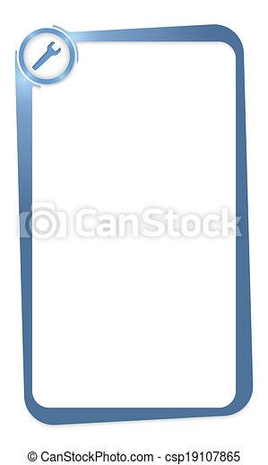 Caja azul por entrar en cualquier texto con llave inglesa - csp19107865