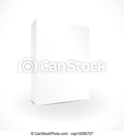 Una caja en blanco en el fondo blanco con reflejo - csp14390707