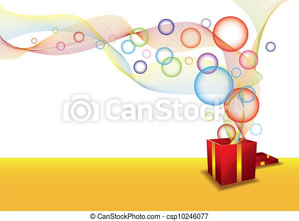 Caja de regalos y burbujas - csp10246077