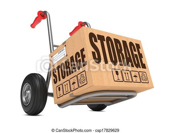 caja, cartón, almacenamiento, -, mano, truck. - csp17829629