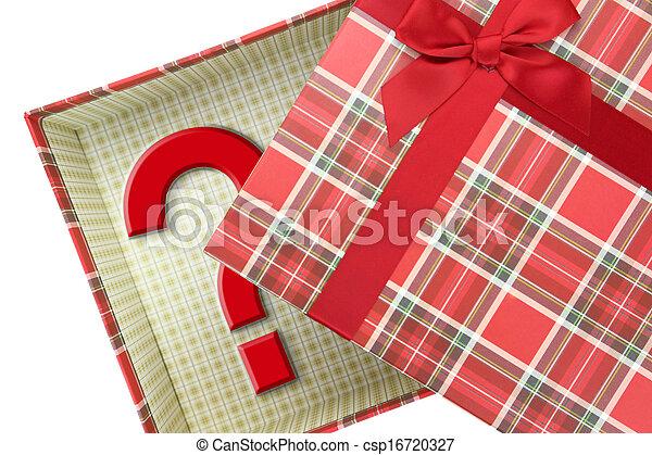 caja, cima, pregunta, presente, marca - csp16720327