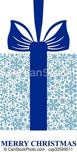 Copos de nieve atados con cinta azul - csp32569511