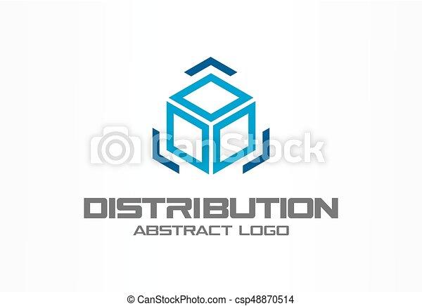 Logotipo abstracto para la empresa. Diseño de identidad corporativo. Caja de carga y flechas alrededor, entrega, exportación, concepto integrado. Tecnología, logística, idea del logotipo de distribución. - csp48870514