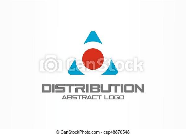 Logotipo abstracto para la empresa. Diseño de identidad corporativo. Caja de carga y flechas alrededor, entrega, exportación, concepto integrado. Tecnología, logística, idea del logotipo de distribución. - csp48870548
