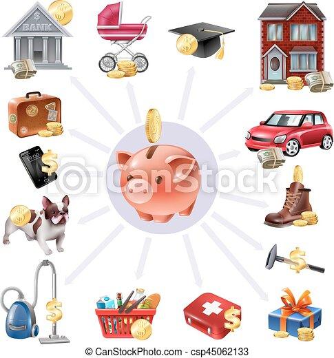 Una caja de dinero ahorrando composición de iconos planos - csp45062133