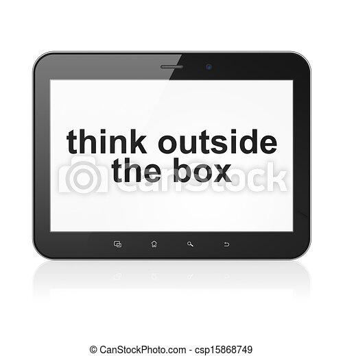 El concepto de educación: pensar fuera de la caja en la computadora de tablet pc - csp15868749
