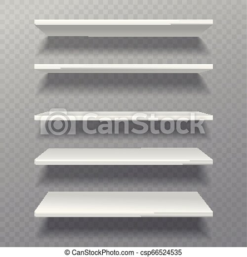estanterías blancas. Una estantería de estantes bíbliotheque estanterías en blanco estanterías de estanterías vacías en una estantería de muebles de pared - csp66524535