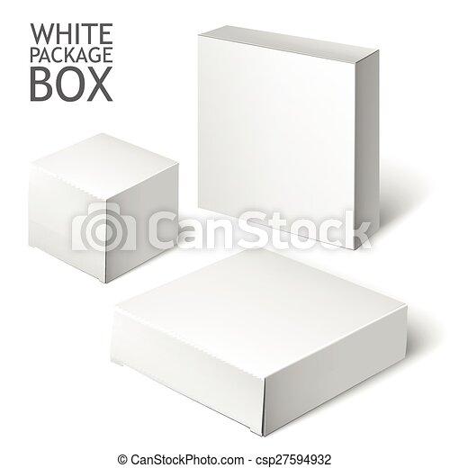 Un paquete blanco cuadrado. Una caja de cartón - csp27594932