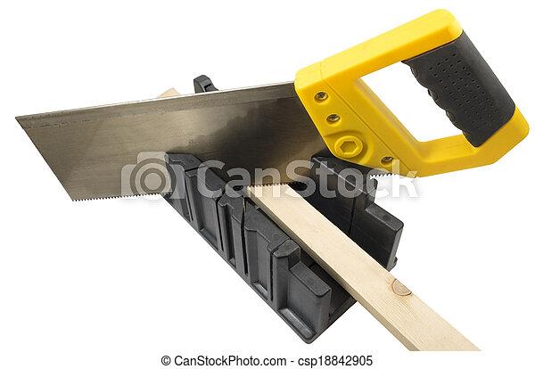 caja, corte, ángulo, mitra, plástico, sierra de mano, herramienta - csp18842905