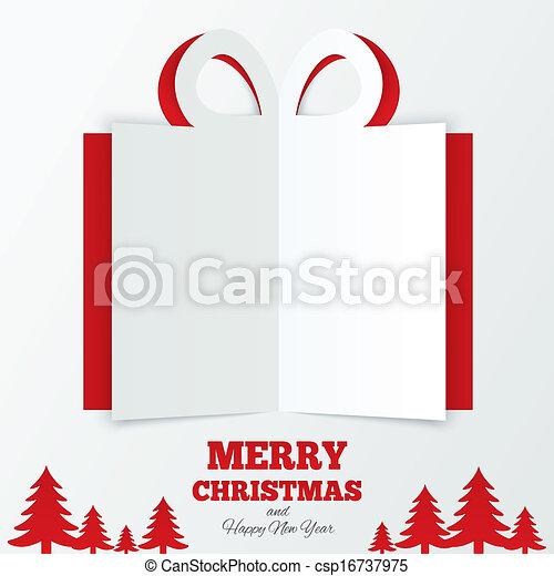 La caja de regalos de Navidad cortó el papel. Árbol de Navidad. - csp16737975
