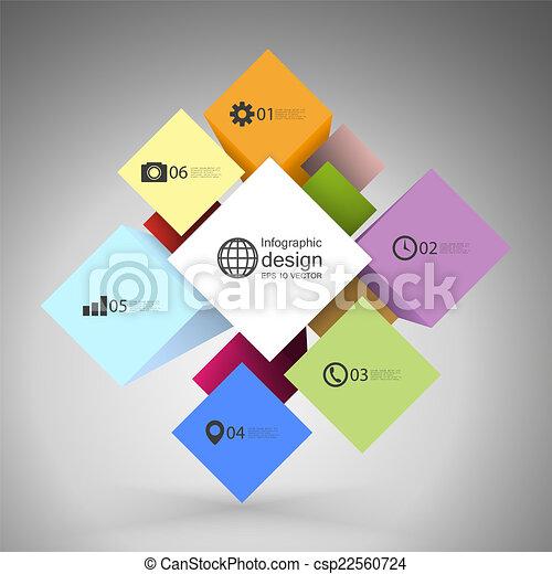 Caja de cubo infográfico para conceptos de negocios, vector de plantilla moderna - csp22560724