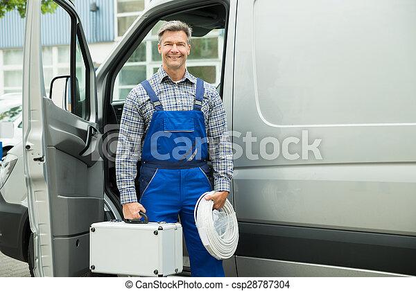 caja de herramientas, alambre, trabajador, macho - csp28787304