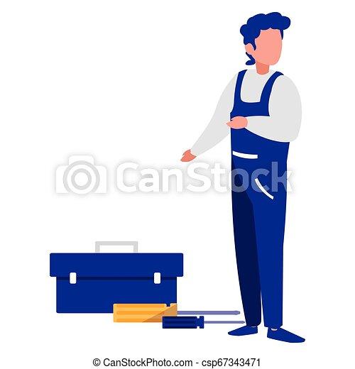 Trabajador mecánico con caja de herramientas - csp67343471