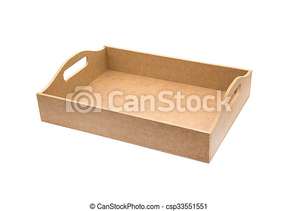 Caja de madera aislada en blanco - csp33551551