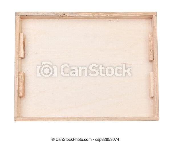 Caja de madera aislada en blanco - csp32853074