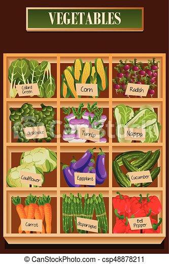 Diferentes Tipos De Vegetales En Una Caja Una Ilustración Vectorial De Diferentes Tipos De Vegetales En Una Caja Canstock
