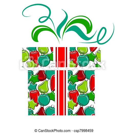 Una caja de regalos con arco hecha de diferentes bolas de Navidad - csp7998459