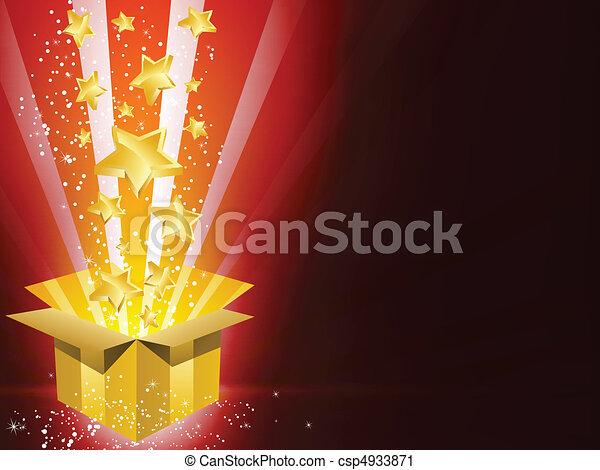 Caja de regalo de Navidad con estrellas - csp4933871