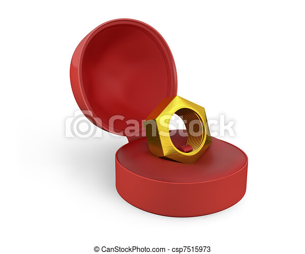 caja, dorado, tornillo, hembra, anillo blanco - csp7515973