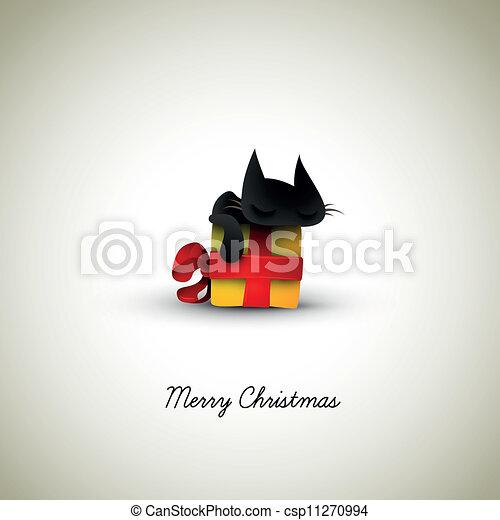 Gatito durmiendo en la caja de regalos de Navidad - csp11270994