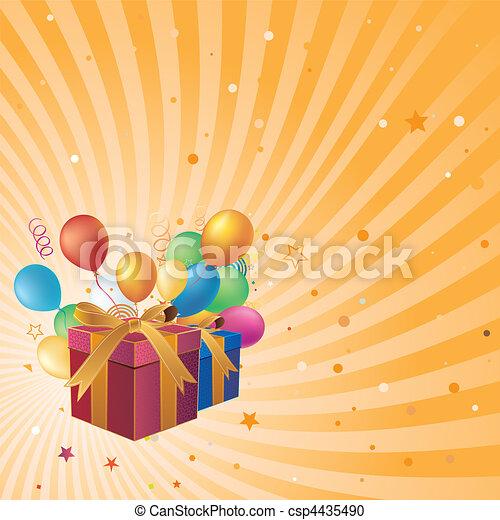 Caja de regalos y globo - csp4435490