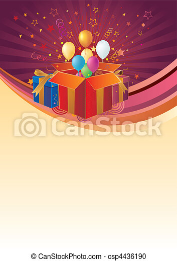Caja de regalos y globo - csp4436190