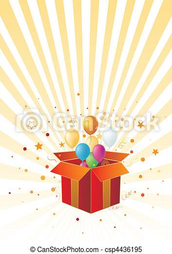 Caja de regalos y globo - csp4436195
