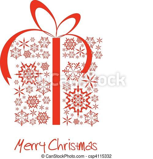 Caja regalo de Navidad hecha de copos de nieve rojos - csp4115332