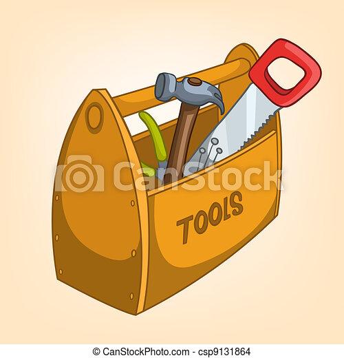 Una caja de herramientas de cartón - csp9131864