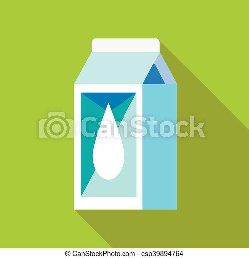icono de la caja de leche, estilo plano - csp39894764
