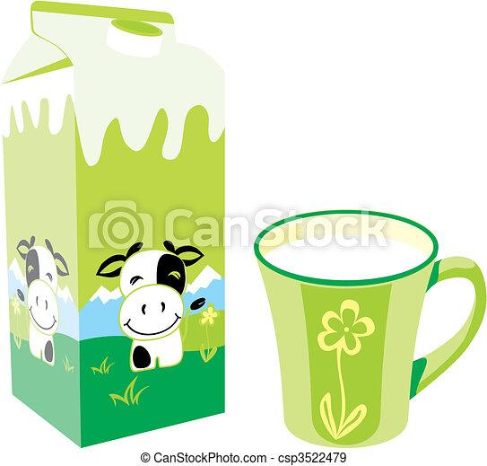 Caja de cartones de leche aislada y taza - csp3522479