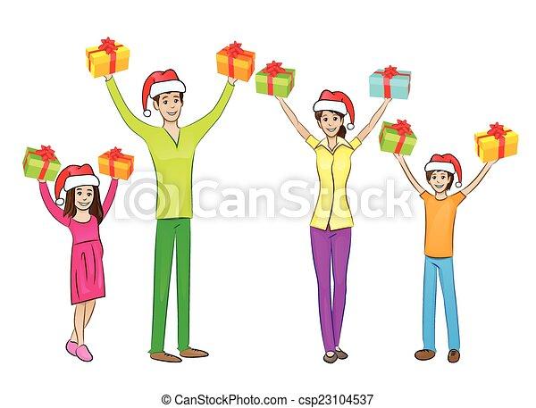La familia feliz de Navidad levantaba los brazos y sostenía la caja de regalos - csp23104537