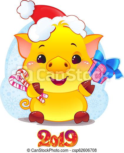 Cerdo terrícola amarillo con caja de regalos para el nuevo año 2019. Lindo símbolo del horóscopo chino. - csp62606708