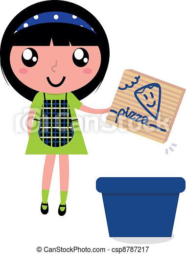 Ilustracin vectorial de caja lindo reciclaje reciclar