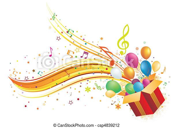 Caja de regalos y música - csp4839212