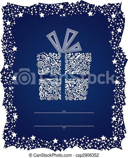 Una caja de regalos en un marco de Navidad helado - csp2906352