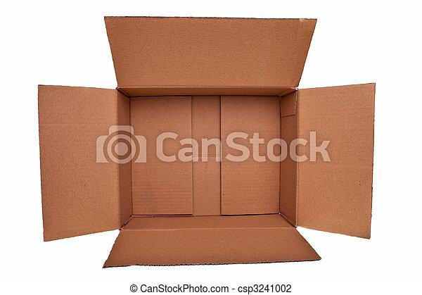 Caja de cartón marrón abierta aislada sobre fondo blanco. - csp3241002