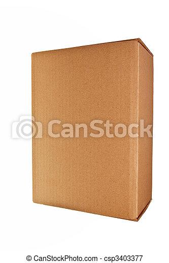 Caja de cartones marrón aislada sobre fondo blanco. - csp3403377