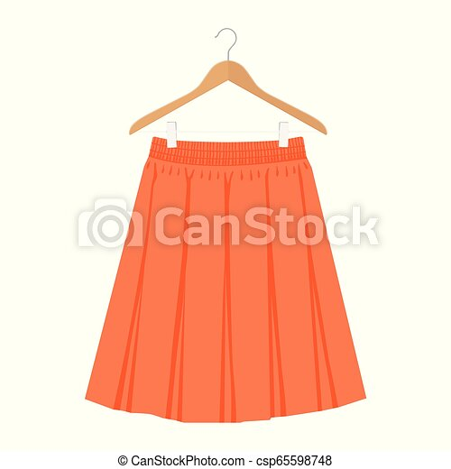 La plantilla de falda naranja Vector, diseño ilustración de la mujer de la moda. Las mujeres boxean con falda plisada en percha - csp65598748