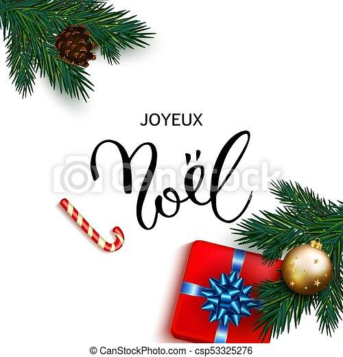 Feliz Navidad francesa. Tarjeta de felicitación con regalos - csp53325276