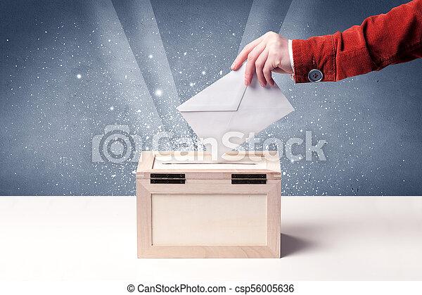 Ballot box con voto de casting - csp56005636