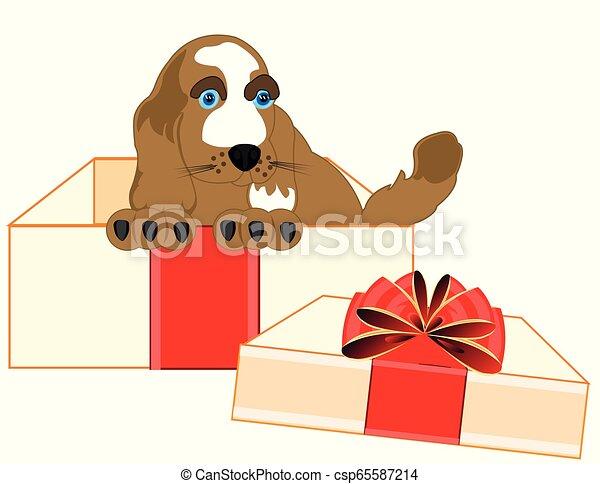 Un cachorrito del perro en la caja - csp65587214