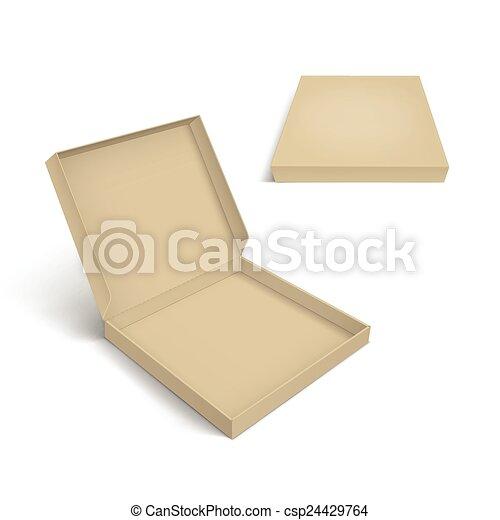 La plantilla de empaque de pizza aislada en fondo blanco - csp24429764