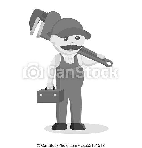 Caja de herramientas y llave inglesa gigante al estilo blanco y negro - csp53181512