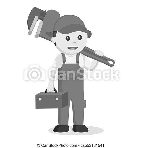 Caja de herramientas y llave inglesa gigante al estilo blanco y negro - csp53181541