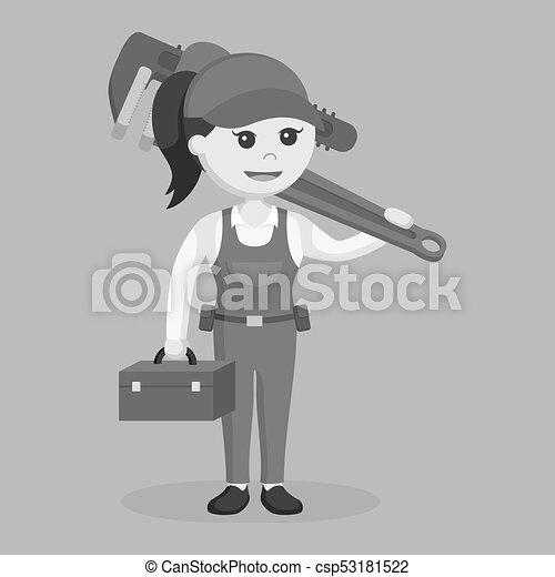 Una mujer fontanero sosteniendo una caja de herramientas y una llave inglesa gigante al estilo blanco y negro - csp53181522