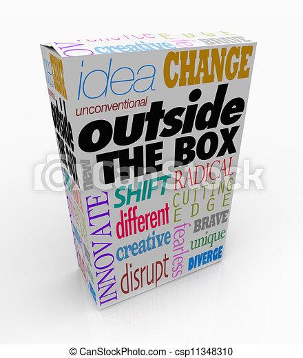 Fuera de la caja de palabras sobre la innovación del paquete de productos - csp11348310